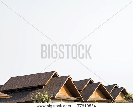 Triple Gable Shingles Roof Of Market mall thailand on white background