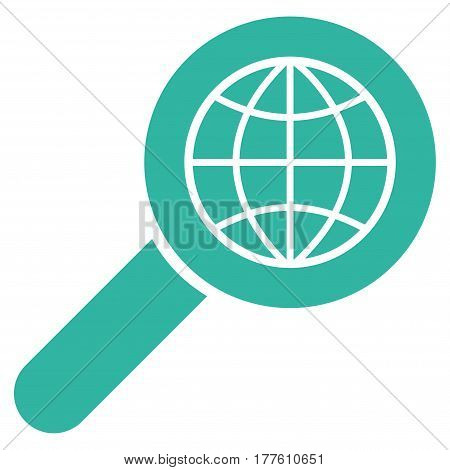 Search Globe Place vector icon. Flat cyan symbol. Pictogram is isolated on a white background. Designed for web and software interfaces.