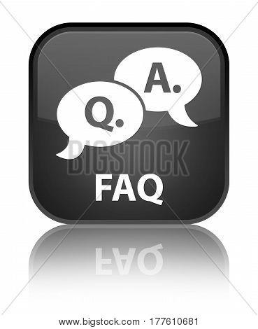 Faq (question Answer Bubble Icon) Special Black Square Button