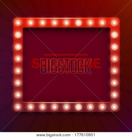 Retro light sign. Vintage style banner. Vector illustration