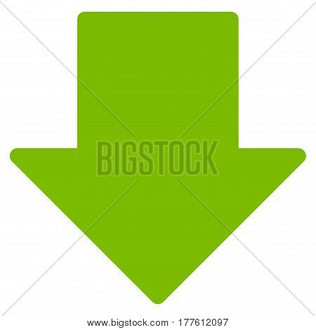Arrow Down vector icon. Flat eco green symbol. Pictogram is isolated on a white background. Designed for web and software interfaces.