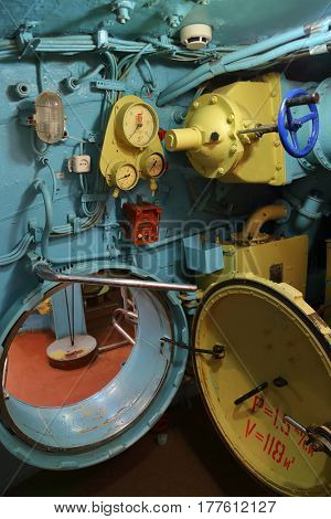 The interior of the submarine compartment with devices of control