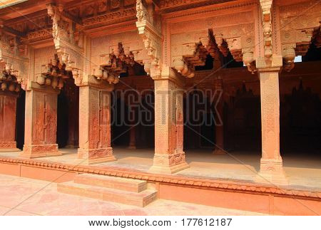 columns in red Fort of Agra India