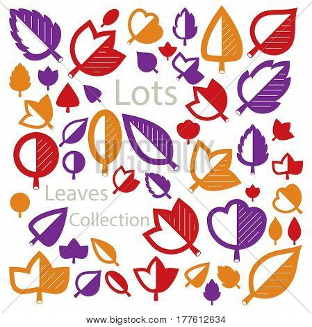Hand-drawn illustration of simple tree leaves isolated. Autumn seasonal foliage herbs collection. Vector botanical symbols can be used as design elements in ecology conservation theme.