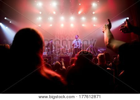 Amsterdam The Netherlands - March 19 2017: Concert of Nowegian hard rock Band Audrey Horne before the concert of Canadian hard rock heavy metal band Danko Jones at Melkweg