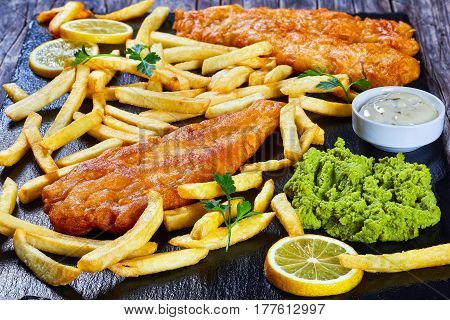 Fish And Chips On Black Slate Plate
