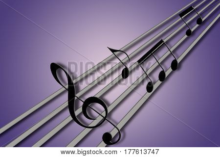 concept of music notes playing in some guitar strings