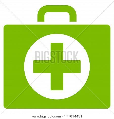 First Aid vector icon. Flat eco green symbol. Pictogram is isolated on a white background. Designed for web and software interfaces.