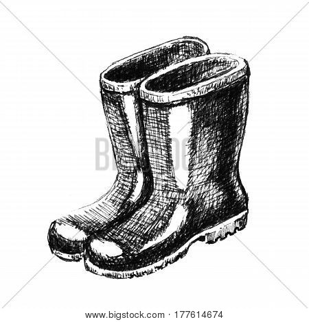 Rubber boots. Hand drawn sketch on a white
