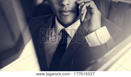 Businessman Sit Inside Car Use Mobile