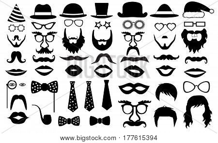 retro party set. glasses hats lips mustaches tie beard monocle icons. vector illustration silhouette