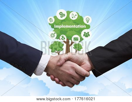 Technology, The Internet, Business And Network Concept. Businessmen Shake Hands: Implementation