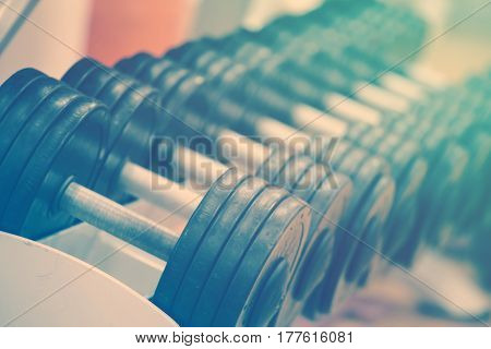 A row of dumbbells on the counter in the gym tinting