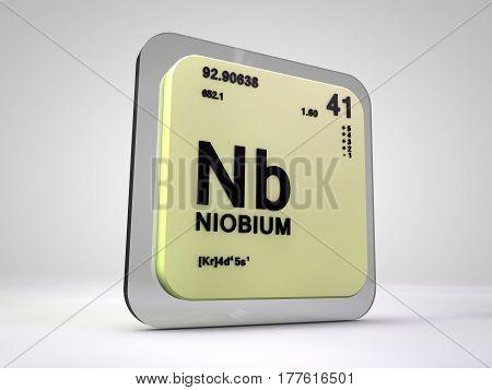 Niobium - Nb - chemical element periodic table 3d render