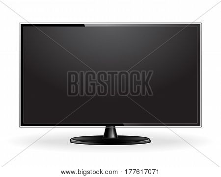 Realistic modern TV screen mock up isolated on white background. Large computer monitor display. Blank television template. Graphic design element for catalog, web site, mock up. Vector illustration