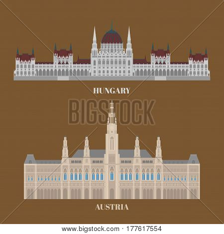 Hungary and Austria travel icons. Country sightseeing symbols, European landmarks. Flat architecture of Budapest and Vienna.