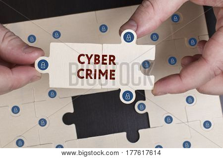 Business, Technology, Internet And Network Concept. Young Businessman Shows The Word: Cyber Crime