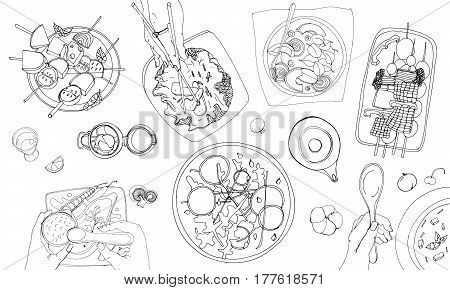 Festive vegetarian tableful, laid table, holidays hand drawn contour illustration. top view