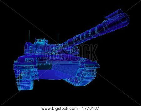 Challenger Tank - Perspective View With Blue Cast