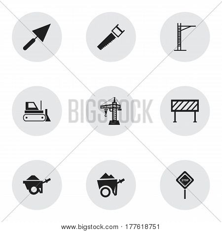 Set Of 9 Editable Construction Icons. Includes Symbols Such As Trolley, Hoisting Machine, Barrier And More. Can Be Used For Web, Mobile, UI And Infographic Design.