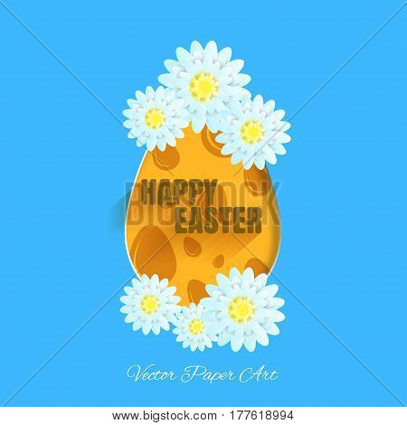 Vector poster of Happy Easter on the blue background with label egg with yellow pattern from eggs light blue flowers and text with shadow cut from paper.