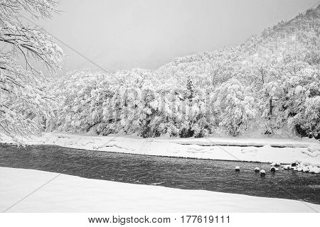 Winter At Shirakawa-go Village In Gifu, Japan