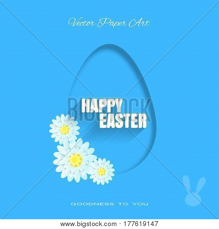 Vector poster of Happy Easter on the blue background with dangling silhouette of an egg bunny silhouette light blue flowers and text with shadow cut from paper.