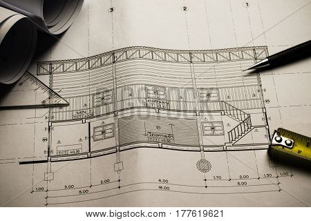 Engineering Diagram Blueprint Paper Drafting Project Sketch Architectural,selective Focus