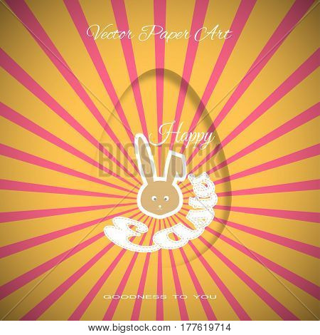 Vector poster of Happy Easter on the red background with dangling silhouette of an egg yellow ray bunny silhouette and text cut from paper.