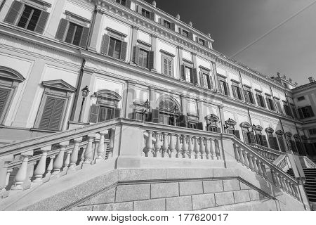 Monza (Brianza Lombardy Italy) - Royal Palace the exterior. Black and white