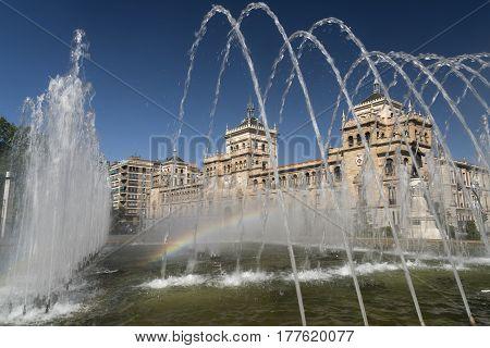 Valladolid (Castilla y Leon Spain): fountain and palace in Plaza de Zorrilla