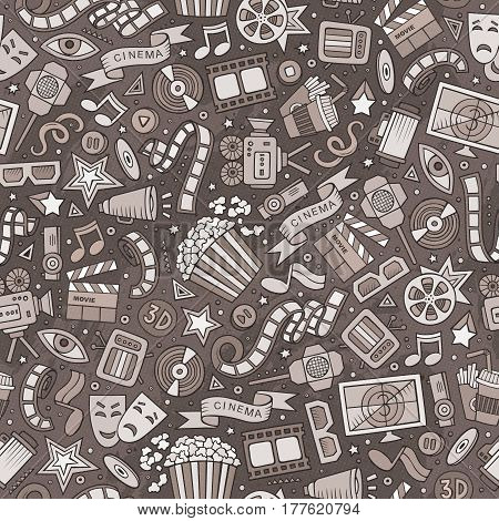 Cartoon cute hand drawn Cinema seamless pattern. Monochrome detailed, with lots of objects background. Endless funny vector illustration