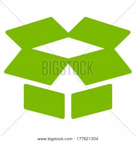 Open Box vector icon. Flat eco green symbol. Pictogram is isolated on a white background. Designed for web and software interfaces.