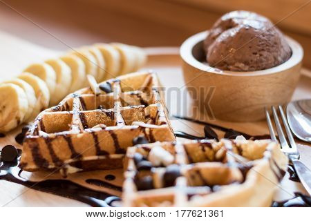 Belgian Waffles With Fruit And Chocolate, Forest Fruit, All Homemade, Delicious Batter.