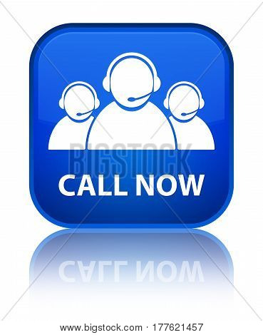 Call Now (customer Care Team Icon) Special Blue Square Button