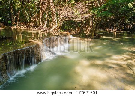 Deep forest waterfalls with beautiful in thailand