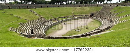 Ancient ruins of famous Pompeii Amphitheatre, Italy