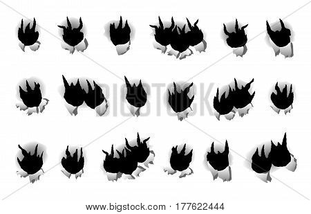 Set bullet holes on paper target shooting isolated white background vector illustration