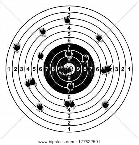 Shooting range target shot of bullet holes vector illustration