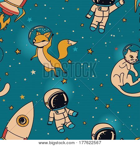 Cosmic seamless pattern, cute doodle boys, rockets, foxes and cats floating in space, vector illustration
