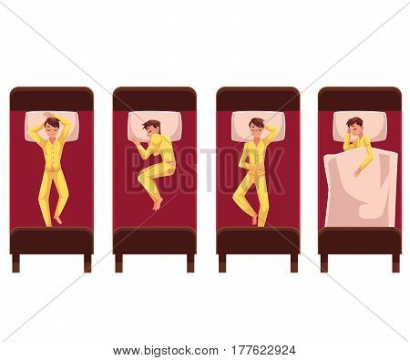 Man sleeping in bed, lying on back, side, under blanket, top view, cartoon vector illustration on white background. Top view of man sleeping in bed in different positions, lying on back and on side
