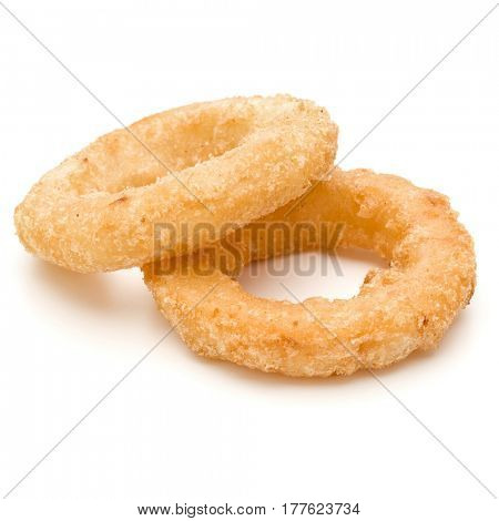 Crispy deep fried onion or Calamari ring isolated on white background