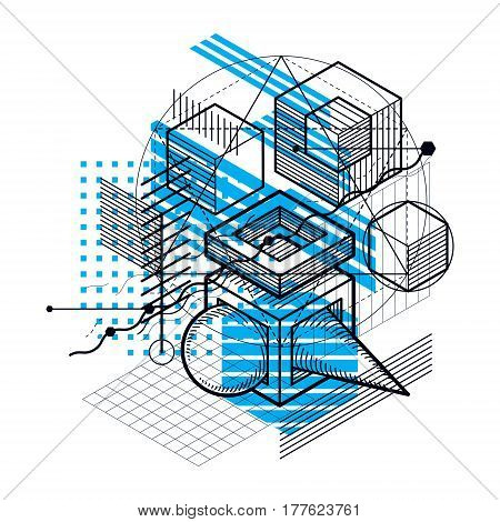 Lines and shapes abstract vector isometric 3d background. Layout of cubes hexagons squares rectangles and different abstract elements.