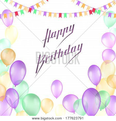 Happy Birthday Vector Design For Greeting Cards And Poster With Balloon, Confetti