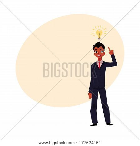 Black African businessman having idea, light bulb as symbol of business insight, cartoon vector illustration with place for text. Black businessman, manager has idea, insight, inspiration