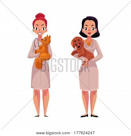 Two women, female veterinarians, vets in medical coats holding pets - cat and dog, cartoon vector illustration isolated on white background. Female vets, veterinarian doctors holding pets