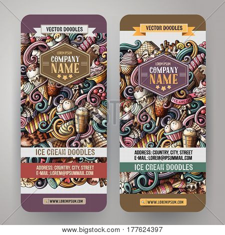 Cartoon cute colorful vector hand drawn doodles ice cream corporate identity. 2 vertical banners design. Templates set