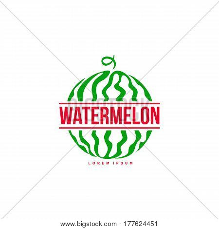 Red and green logo template with side view of stylized striped watermelon, vector illustration isolated on white background. Watermelon logotype, logo design with graphic, stylized whole watermelon