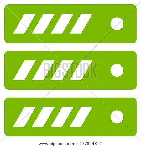 Server vector icon. Flat eco green symbol. Pictogram is isolated on a white background. Designed for web and software interfaces.