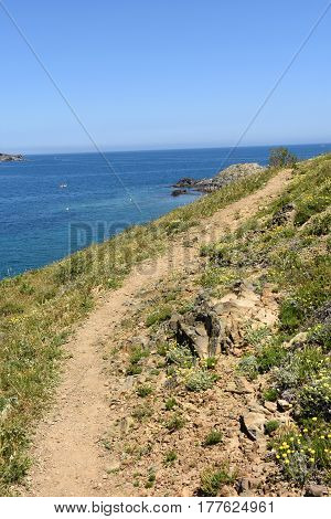 Road Leading (cami De Ronda) To Ras Cape , Colera, Costa Brava, Girona Province, Catalonia, Spain